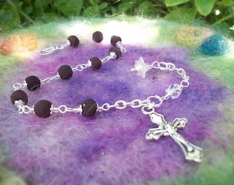 Rose Petal Bead Rosary Bracelet Handmade to Order