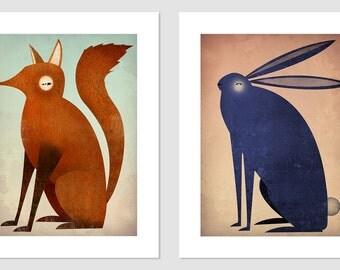 Folklore Fox and Indigo Rabbit Graphic Art Illustration 9x12 giclee prints Signed