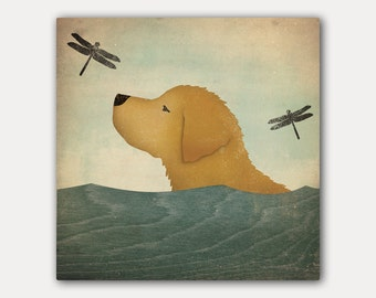 Summer Swim GOLDEN Retriever DOG -   Stretched Canvas Wall Art on canvas