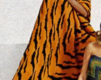 Tiger Print Afghan Knitting Pattern  pdf Instant Download