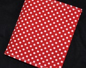 A6 Refillable 6.5 x 5.6 Inch Fabric Journal Retro Red & White POLKA DOTS Student Travel Art Sketch Diary Journal Planner Book Cover