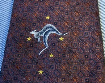 70s Neck Tie Vintage 1970s Wide Kangaroo Stars Australia Jacquard