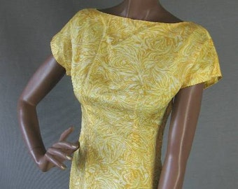 50s Wiggle Dress Vintage 1950s Cropped Jacket Sunny Yellow Print Extra Small to Small
