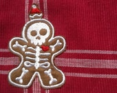 Skeleton Gingerbread Placemat 4 Red Embroidered