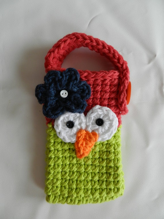 Crocheted Owl Cell Phone/ IPhone / Small Gadget Cozy/ Cherry Red and lime Green