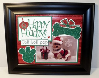 Christmas Dog Picture Mat - Happy Holidays - Personalized - 8x10 Unframed Mat Insert