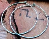 Large Turquoise Hoop Earrings 2 inch. Hammered Sleek Hoops - Handmade Everyday Earrings. Summery Earrings. Colored Hoop Earrings
