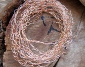Knitted Copper Chain 3 foot for Necklace - Hand Crochet Wire Chain. Crochet Jewelry Findings. Crochet findings. Copper Crochet Wire