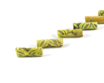 Fiber Beads Textile Beads Fabric Beads Yellow Beads in Yellow and Gray