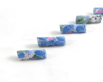 Handmade Fabric Beads Fiber Textile Bugle Beads Blue Beads Big Hole Bright Floral Print Blue Green Pink White Hints of Silver Flowers Summer