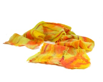 Cobweb Felt Scarf Wool Scarf Winter Scarf Gift for Her Womens Scarf Neon Scarf in Orange Chartreuse Green and Yellow Lightweight OOAK