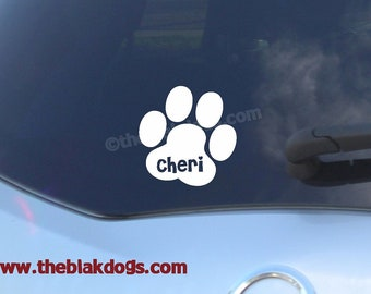 Pawprint Silhouette Vinyl Sticker Car Decal Personalized