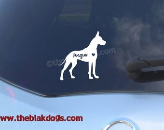 Great Dane Silhouette Vinyl Sticker - personalized Car Decal