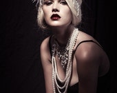 Art Deco Rhinestone Choker - White Feather Silver Fringe