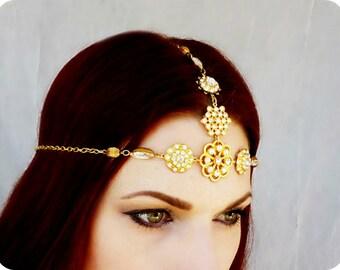 Gold Rhinestone Gypsy Medieval Headdress Wedding Headpiece - Game of Thrones