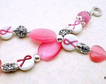 Sale / On Sale / Clearance Jewelry / Jewelry on Sale / Marked Down / Pink Ribbon Wishes Bracelet - AW00036
