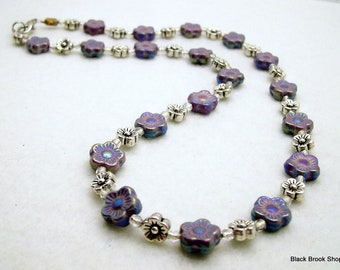 Sale / On Sale / Clearance Jewelry / Jewelry on Sale / Marked Down / Purple and Silver Flowers Necklace - NE00053