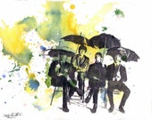 The Beatles Art Print From an Original Watercolor Painting - 13 x 19 in Bealtes Poster Print Music Poster Pop Art Wall Decor
