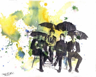 The Beatles Art Art Print From an Original Watercolor Painting - 13 x 19 in Art Poster Print
