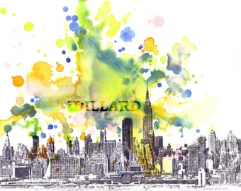 New York City Manhattan Skyline Landscape Art Print From Original Watercolor Painting 17 x 22 in Large Wall Art Print