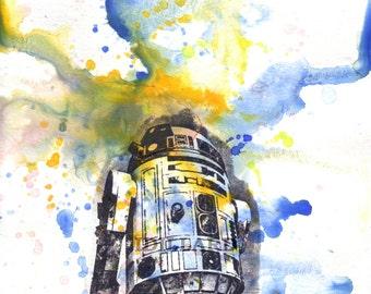 Star Wars Art R2D2 Poster Print From Original Watercolor Painting - Star Wars Fine Art poster print 8 X 10 in.