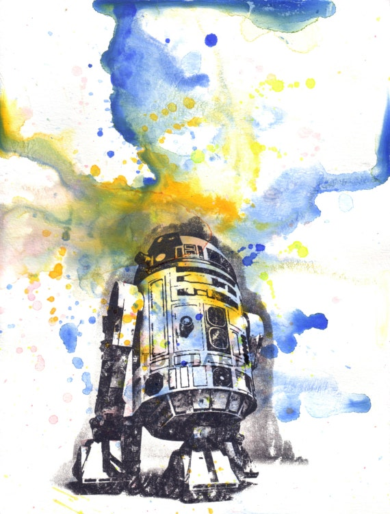 Star Wars Art R2D2 Poster Print From Original Watercolor Painting - Star Wars Fine Art poster print 8 X 10 in.