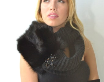 Black infinity scarf with a fur twist