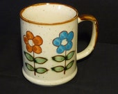 Retro Flower Power Mug with Blue  and Orange Flowers, Daisies,1960s 1970s, on Etsy by TheRetroLife