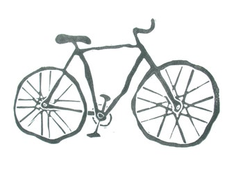 LINOCUT BIKE PRINT - Black letterpress bicycle poster 8x10