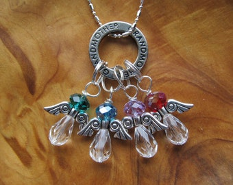 Christmas - GRANDMOTHER with  ANGELS Birthstone Charm Necklace - Choose any Swarovski Crystal - Great Holiday Gift