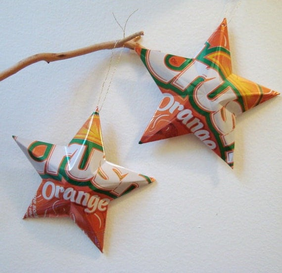 Soda In Christmas Tree Water: Recycled Orange Crush Soda Can Aluminum Stars Set Of 2