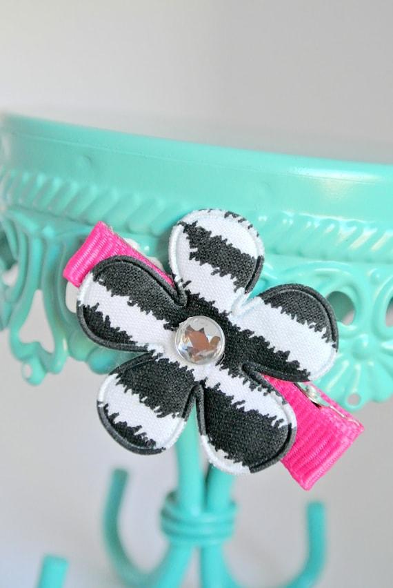 Zebra Flower Hair Clip