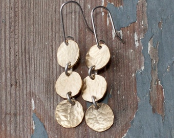 Three Suns- brass discs and sterling earwires