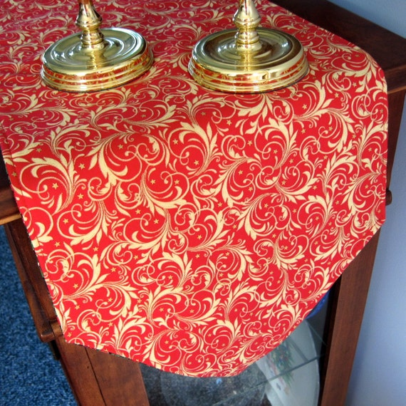 Sale red and gold christmas table runner reversible