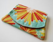 Mini Velcro Fold Over Card and Cash Wallet - Sunburst