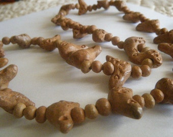 Clay Birds Necklace Natural ExoticTribal 27 Birds