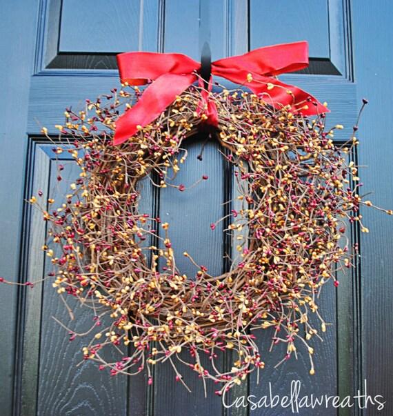 CLEARANCE-LAST ONE-Berry wreath, thanksgiving wreath, autumn wreath, fall wreath
