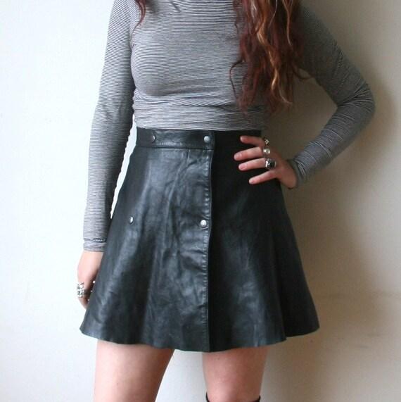 80s Black Leather Mini Skirt Sz XS