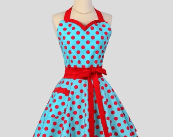 Sweetheart Retro Apron - Handmade Sexy Flirty Womens Apron in Teal and Red Pin-up Dots Full Kitchen Apron