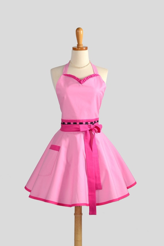 Sweetheart Retro Apron . Sexy Kitchen Apron in Cute and Flirty Retro  Pink and Hot Pink Perfect for Monogram or Personalization