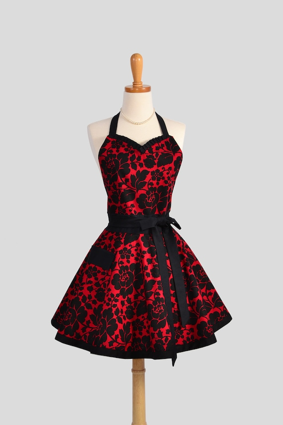 sweetheart retro apron sexy kitchen womens apron in red and. Black Bedroom Furniture Sets. Home Design Ideas
