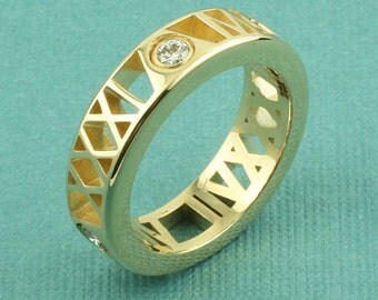 "Personalized Roman Numeral Ring, 10K Gold in ""Pierced"" Style"