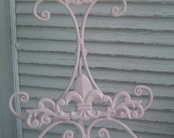 Fleur De Lis /  Easel /  Wedding /  Sign / Book / Picture Stand / Cast Iron Metal / PINK  / (refpbb)