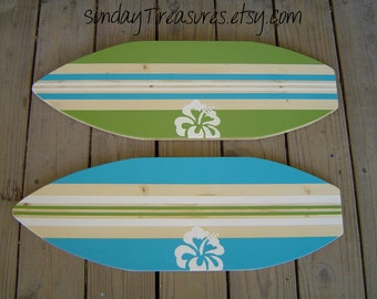 SALE 27 inch Personalized  Hibiscus Surfboard Wall art Beach Sign / Kids Girl Boy Teens  / Lots of Designs / 2 sizes