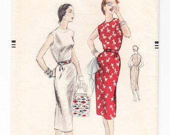 Vintage 1955 Vogue 8331 Sewing Pattern Misses' One-Piece Dress Size 12 Bust 30