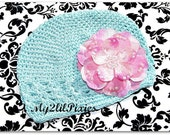Beautiful Beanie Hat with Detachable Big Pink Flower With Rhinestone Center-- Newborn - 1 years old- Photo Prop-- Everyday Wear-