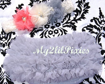Chiffon Ruffle Bum Baby Bloomer Diaper Cover and Baby Girl Headband Set- My2lilPixies