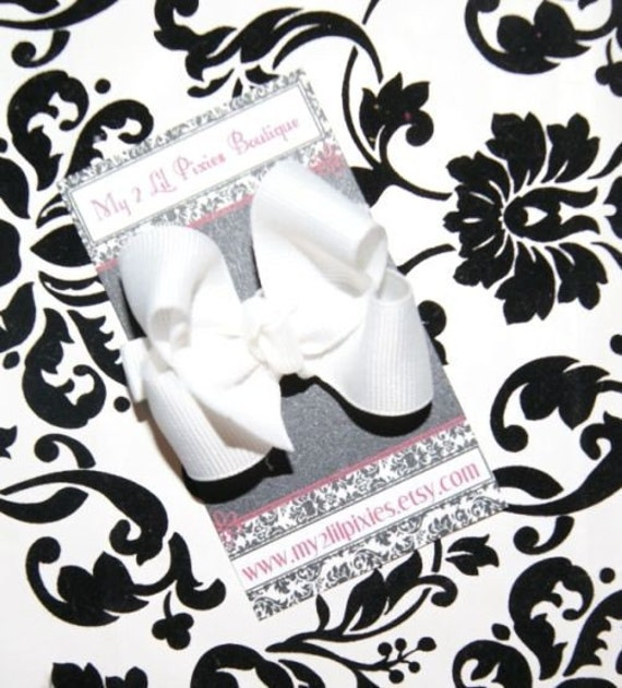 SALE- Itty Bitty Boutique White Bow - No Slip Grip Included- Everyday Wear- All Ages