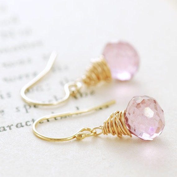 Pink Gemstone Earrings 14k Gold Fill, Wire Wrap Pink Dangle, aubepine