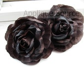 DISCONTINUED CLEARANCE SALE Shabby Chic Vintage Look Victorian Silk Rose Flowers x 6 Dark Chocolate